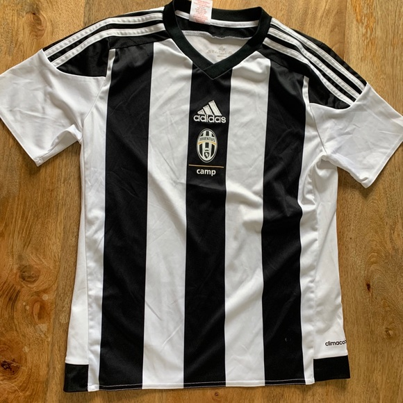 Black and White Striped Adidas Soccer Jersey